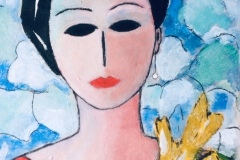 Woman with flowers  - dimensioni cm. 60 x 46